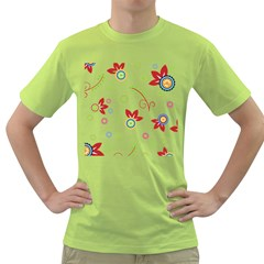 Floral Flower Rose Star Green T Shirt by Alisyart