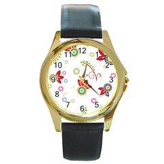Floral Flower Rose Star Round Gold Metal Watch by Alisyart