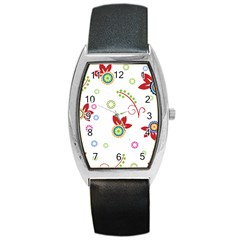 Floral Flower Rose Star Barrel Style Metal Watch