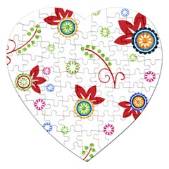 Floral Flower Rose Star Jigsaw Puzzle (heart) by Alisyart