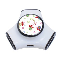 Floral Flower Rose Star 3 Port Usb Hub