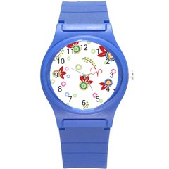 Floral Flower Rose Star Round Plastic Sport Watch (s) by Alisyart