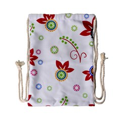 Floral Flower Rose Star Drawstring Bag (small)