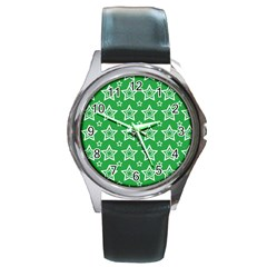 Green White Star Line Space Round Metal Watch