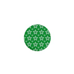 Green White Star Line Space 1  Mini Buttons