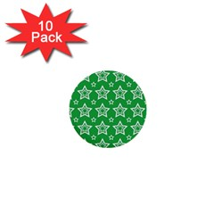 Green White Star Line Space 1  Mini Buttons (10 Pack)  by Alisyart