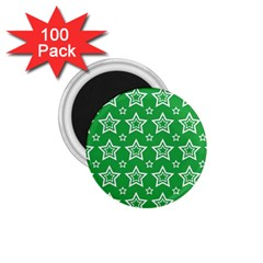 Green White Star Line Space 1 75  Magnets (100 Pack)  by Alisyart