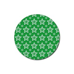 Green White Star Line Space Rubber Coaster (round)  by Alisyart