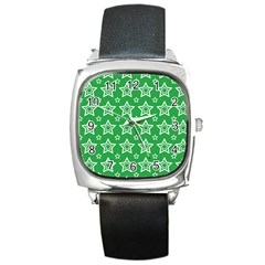 Green White Star Line Space Square Metal Watch by Alisyart