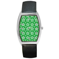 Green White Star Line Space Barrel Style Metal Watch