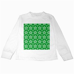 Green White Star Line Space Kids Long Sleeve T Shirts by Alisyart