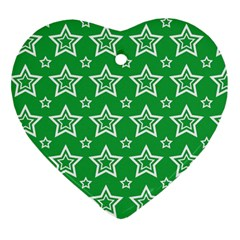 Green White Star Line Space Heart Ornament (two Sides)