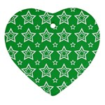 Green White Star Line Space Heart Ornament (Two Sides) Front