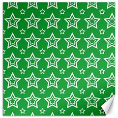 Green White Star Line Space Canvas 16  X 16   by Alisyart