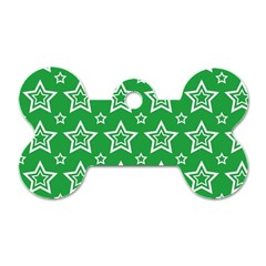 Green White Star Line Space Dog Tag Bone (one Side)