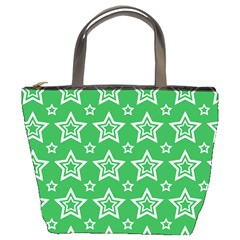 Green White Star Line Space Bucket Bags by Alisyart