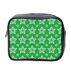 Green White Star Line Space Mini Toiletries Bag 2 Side by Alisyart