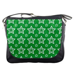 Green White Star Line Space Messenger Bags by Alisyart