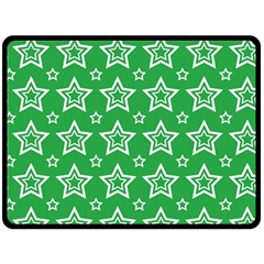 Green White Star Line Space Double Sided Fleece Blanket (large)