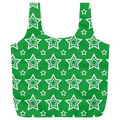 Green White Star Line Space Full Print Recycle Bags (l)