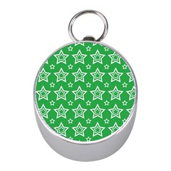 Green White Star Line Space Mini Silver Compasses by Alisyart