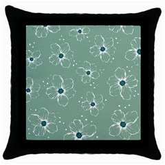 Floral Flower Rose Sunflower Grey Throw Pillow Case (black) by Alisyart
