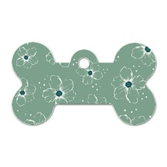 Floral Flower Rose Sunflower Grey Dog Tag Bone (two Sides) by Alisyart