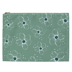 Floral Flower Rose Sunflower Grey Cosmetic Bag (xxl)  by Alisyart