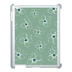 Floral Flower Rose Sunflower Grey Apple Ipad 3/4 Case (white)