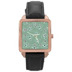 Floral Flower Rose Sunflower Grey Rose Gold Leather Watch  by Alisyart