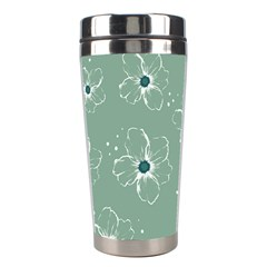 Floral Flower Rose Sunflower Grey Stainless Steel Travel Tumblers by Alisyart