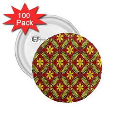 Abstract Yellow Red Frame Flower Floral 2 25  Buttons (100 Pack)