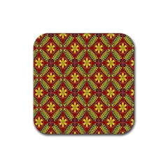 Abstract Yellow Red Frame Flower Floral Rubber Square Coaster (4 Pack)  by Alisyart