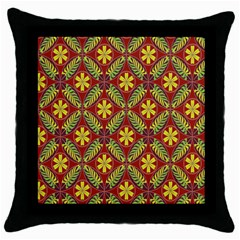 Abstract Yellow Red Frame Flower Floral Throw Pillow Case (black)