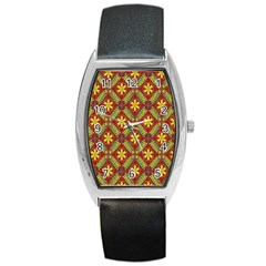 Abstract Yellow Red Frame Flower Floral Barrel Style Metal Watch