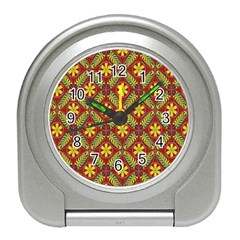 Abstract Yellow Red Frame Flower Floral Travel Alarm Clocks by Alisyart