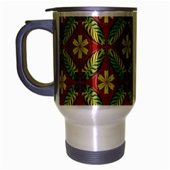 Abstract Yellow Red Frame Flower Floral Travel Mug (silver Gray)