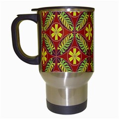 Abstract Yellow Red Frame Flower Floral Travel Mugs (white)