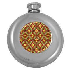 Abstract Yellow Red Frame Flower Floral Round Hip Flask (5 Oz) by Alisyart