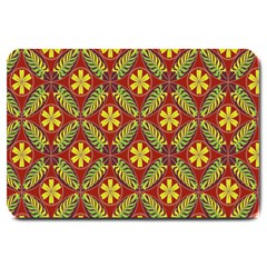 Abstract Yellow Red Frame Flower Floral Large Doormat  by Alisyart