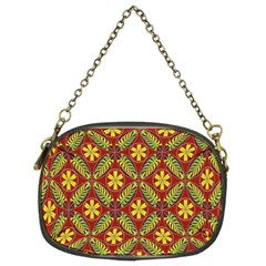 Abstract Yellow Red Frame Flower Floral Chain Purses (two Sides)