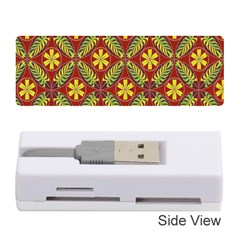 Abstract Yellow Red Frame Flower Floral Memory Card Reader (stick)