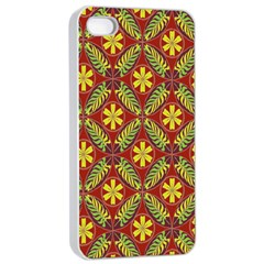 Abstract Yellow Red Frame Flower Floral Apple Iphone 4/4s Seamless Case (white)