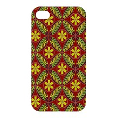 Abstract Yellow Red Frame Flower Floral Apple Iphone 4/4s Hardshell Case by Alisyart