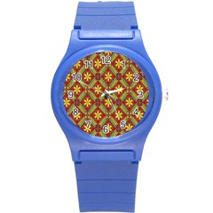 Abstract Yellow Red Frame Flower Floral Round Plastic Sport Watch (s) by Alisyart
