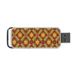 Abstract Yellow Red Frame Flower Floral Portable Usb Flash (one Side)