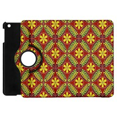 Abstract Yellow Red Frame Flower Floral Apple Ipad Mini Flip 360 Case by Alisyart