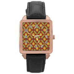 Abstract Yellow Red Frame Flower Floral Rose Gold Leather Watch