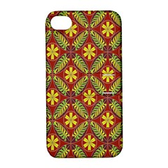 Abstract Yellow Red Frame Flower Floral Apple Iphone 4/4s Hardshell Case With Stand by Alisyart