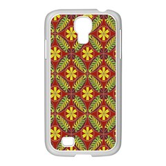 Abstract Yellow Red Frame Flower Floral Samsung Galaxy S4 I9500/ I9505 Case (white) by Alisyart